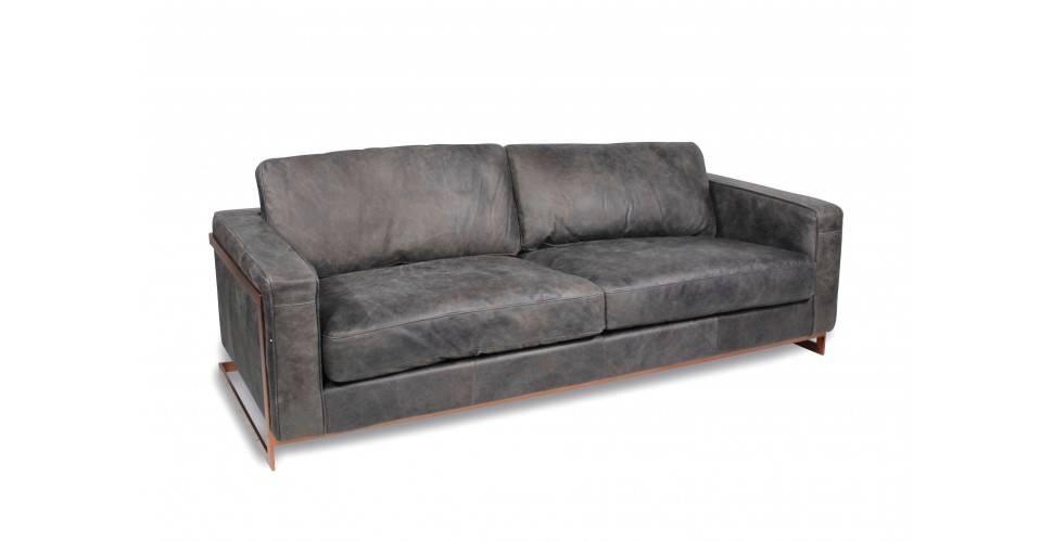 """Design Sofa """"Connor"""" graues Leder"""