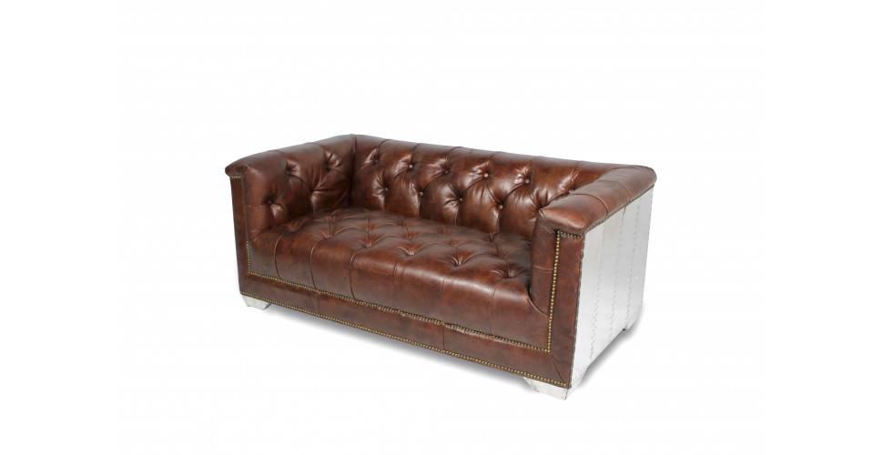 "Chesterfield Aviator Sofa ""Debbie"" aus braunem Leder"