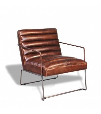 "Fauteuil ""Griffin"" cuir marron style design"