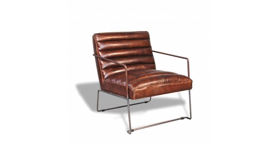 """""""Griffin"""" Sessel aus braunem Leder im Designstil"""