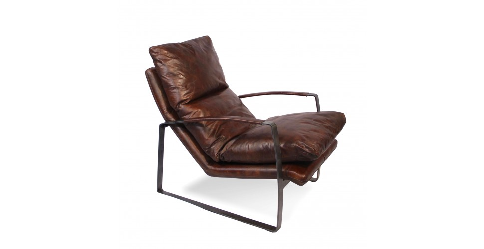 fauteuil design moelleux cuir marron vintage