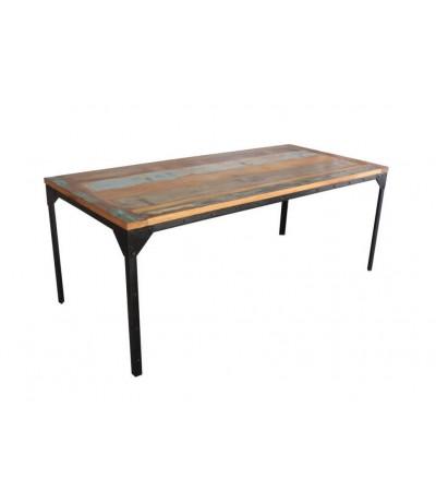 """Table de Repas """"Bronx"""" style industriel, 200 cm, plateau multicolore"""