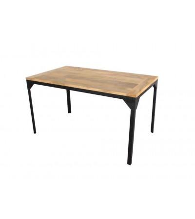 """Table """"Bronx"""" bois massif patiné et métal style industriel, 140 cm"""
