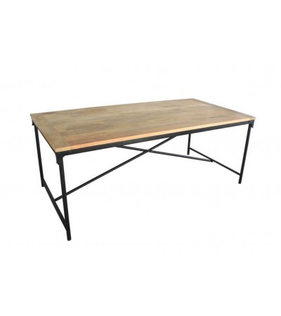 "Table à dîner ""Harlem"" bois massif et structure en métal, 200 cm"