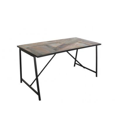 """Table à manger """"Queens"""" bois recyclé coloré et métal, 150 cm"""