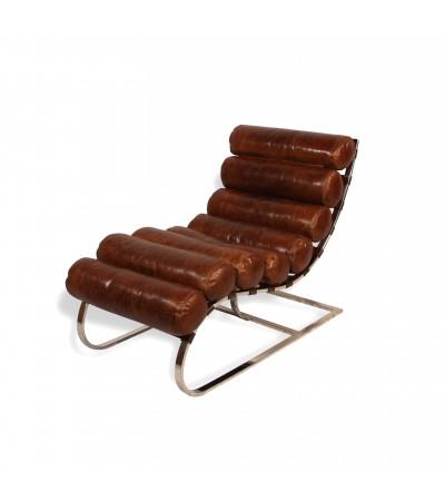 """Fauteuil allongé Cuir Vintage marron """"Jane"""" et métal"""