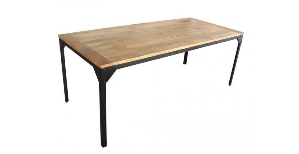 """Table à dîner """"Bronx"""" bois, métal et rivets, 200 cm"""