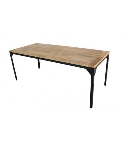 """Table de repas """"Bronx"""" en bois massif de manguier, pieds rivetés, 170 cm"""