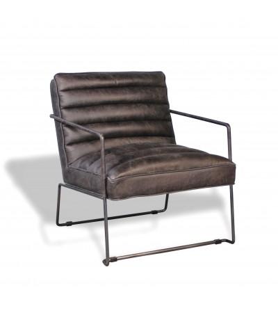 """""""Griffin"""" Sessel aus grauem Leder im Designstil"""