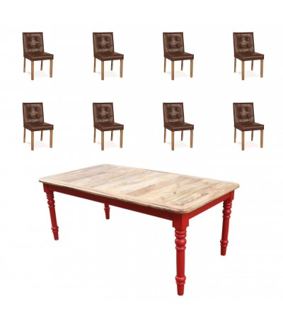 "Table ""Bowery"" + 8 chaises ""Jones"" cuir brun"