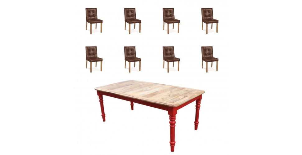 """Table """"Bowery"""" + 8 chaises """"Jones"""" cuir brun"""